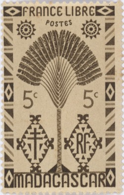Ravenala Design: 5-Centime Postage Stamp