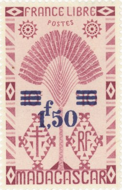 Ravenala Design: 10-Centime Postage Stamp with 2-Franc Surcharge