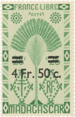 Ravenala Design: 25-Centime Postage Stamp with 5-Franc Surcharge