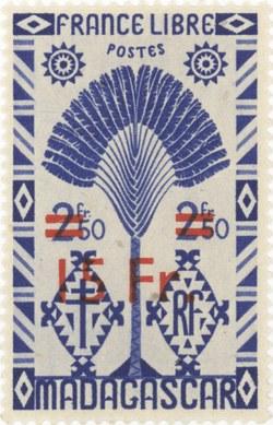 Ravenala Design: 3-Franc Postage Stamp with 15-Franc Surcharge