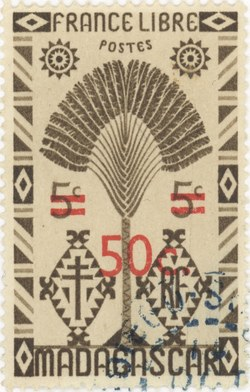 Ravenala Design: 5-Centime Postage Stamp with 50-Centime Surcharge