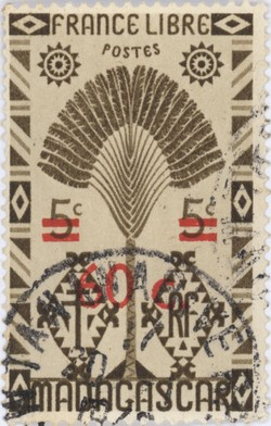 Ravenala Design: 5-Centime Postage Stamp with 60-Centime Surcharge