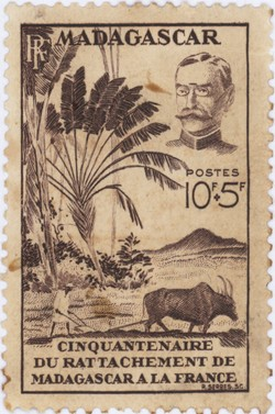 50th Anniversary of the Annexation of Madagascar by France: 10+5-Franc Postage Stamp
