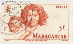 Betsimisiraka Woman and Child: 5-Franc Postage Stamp