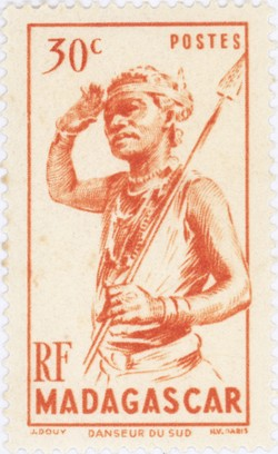 Dancer from the South: 30-Centime Postage Stamp