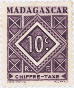 Geometric Design: 10-Centime Postage Stamp