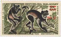Indri brevicaudatus: 85-Franc Postage Stamp with 20-Franc Surcharge