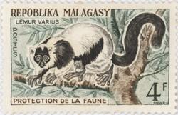 Lemur varius: 4-Franc Postage Stamp
