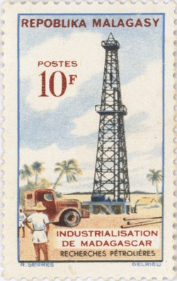 Industrialisation: Search for Oil: 10-Franc Postage Stamp