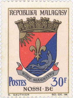 Nosy Be Coat-of-Arms: 30-Franc Postage Stamp
