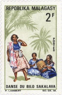 Sakalava Bilo Dance: 2-Franc Postage Stamp