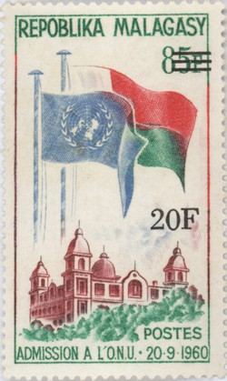 Madagascar's Admission to the UN: 85-Franc Postage Stamp with 20-Franc Surcharge