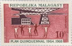 Five-Year Plan 1964-1968: 10-Franc Postage Stamp