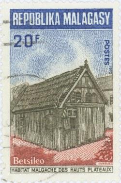 Traditional Betsileo Highland Dwelling: 20-Franc Postage Stamp