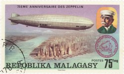 Luftschiff Graf Zeppelin: 75-Franc Postage Stamp
