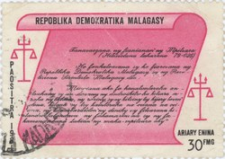 Magistrates' Oath: 30-Franc (6-Ariary) Postage Stamp