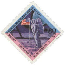 Neil Armstrong & Buzz Aldrin: 80-Franc (16-Ariary) Postage Stamp