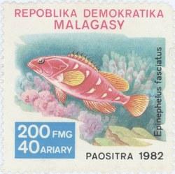 Epinephelus fasciatus: 200-Franc (40-Ariary) Postage Stamp