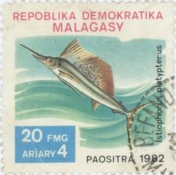 Istiophorus platypterus: 20-Franc (4-Ariary) Postage Stamp
