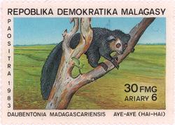 Aye-aye: 30-Franc (6-Ariary) Postage Stamp