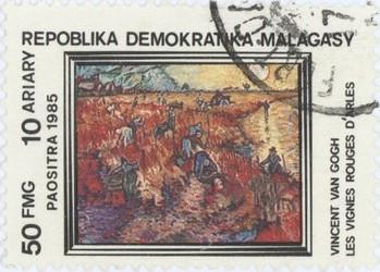 Vincent van Gogh's Les Vignes Rouges d'Arles: 50-Franc (10-Ariary) Postage Stamp