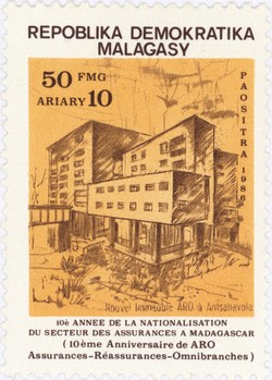 10th Anniversary of the Privatisation of the Malagasy Insurance Sector: 50-Franc (10-Ariary) Postage Stamp