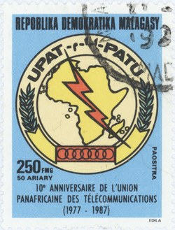 Pan-African Telecommunications Union, 10th Anniversary: 250-Franc (50-Ariary) Postage Stamp
