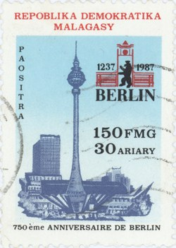 Berlin: 750th Anniversary: 150-Franc (30-Ariary) Postage Stamp