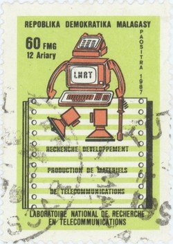 National Telecommunications Research Laboratory: 60-Franc (12-Ariary) Postage Stamp