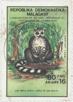 Tsimbazaza: Lemur catta: 80-Franc (16-Ariary) Postage Stamp