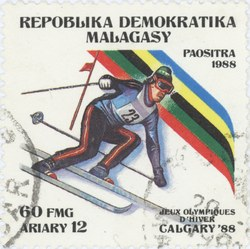 Alpine Skiing, Winter Olympics: 60-Franc (12-Ariary) Postage Stamp