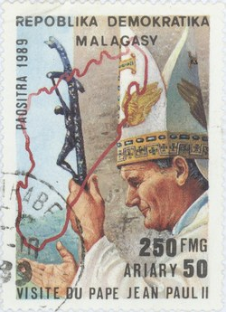 Visit of Pope John Paul II to Madagascar: 250-Franc (50-Ariary) Postage Stamp