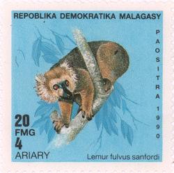 Lemur fulvis sanfordi: 20-Franc (4-Ariary) Postage Stamp