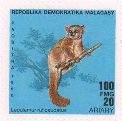 Lepilemur ruficaudatus: 100-Franc (20-Ariary) Postage Stamp