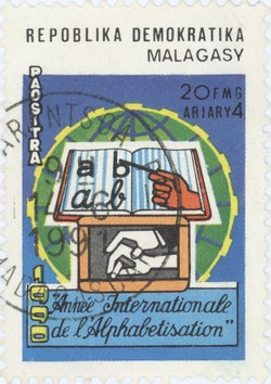 International Literacy Year: 20-Franc (4-Ariary) Postage Stamp