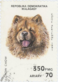 Chow Chow: 350-Franc (70-Ariary) Postage Stamp