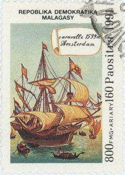 Amsterdam Caravel: 800-Franc (160-Ariary) Postage Stamp