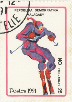 Alpine Skiing, Winter Olympics: 140-Franc (28-Ariary) Postage Stamp