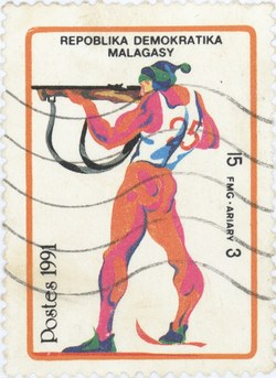 Biathlon, Winter Olympics: 15-Franc (3-Ariary) Postage Stamp