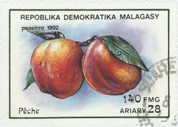 Peaches: 140-Franc (28-Ariary) Postage Stamp