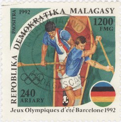 Canoe Racing, Summer Olympics: 1,200-Franc (240-Ariary) Postage Stamp