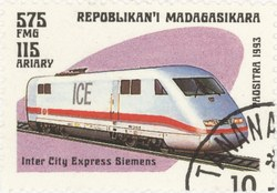 Inter City Express Siemens: 575-Franc (115-Ariary) Postage Stamp