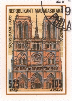 Notre Dame Cathedral, Paris: 525-Franc (105-Ariary) Postage Stamp