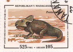 Prehistoric Animals: Protoceratops: 525-Franc (105-Ariary) Postage Stamp