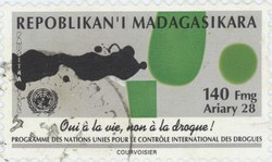 United Nations International Drug Control Programme: 140-Franc (28-Ariary) Postage Stamp