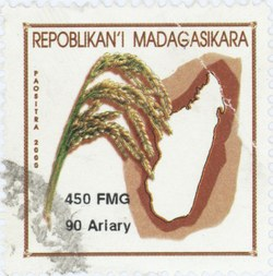 Rice and Madagascar: 450-Franc (90-Ariary) Postage Stamp