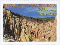 Tsingy Rouge, Irodo: 25,000-Franc (5,000-Ariary) Postage Stamp
