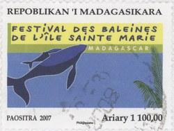 Ile Sainte Marie Whale Festival: 1,100-Ariary Postage Stamp