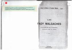 Les Fady Malgaches: Extrait du Bulletin de l'Académie Malgache