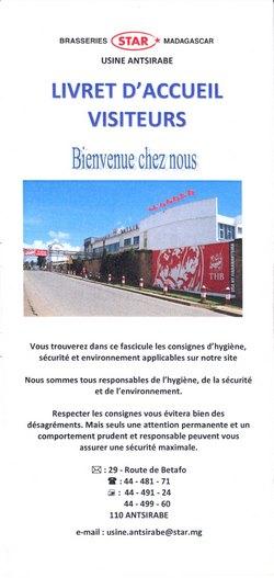 Livret d'Accueil Visiteurs: Brasseries Star Madagascar: Usine Antsirabe